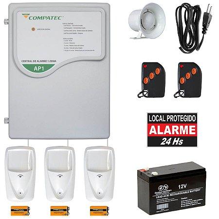 Alarme Residencial Sem Fio 3 Sensores Presença PET 2 Controles
