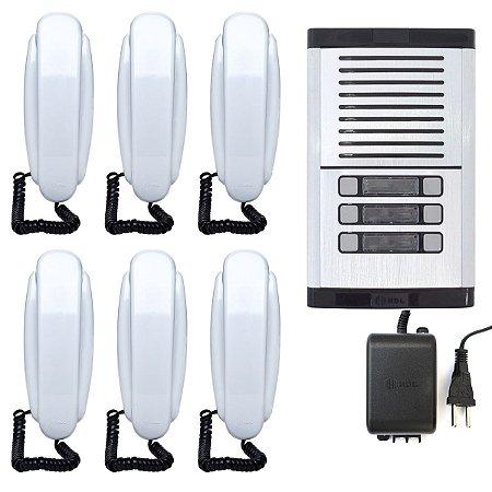 Interfone Coletivo 6 Pontos HDL Completo Com Fonte e 6 Monofones