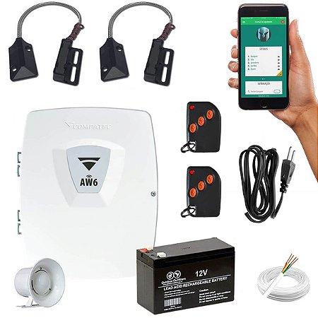 Kit Alarme Wifi para Loja Comércio 2 Sensores Porta Ferro Aço