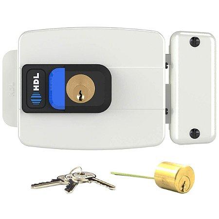 Fechadura Elétrica HDL C90 AF Branca Botão Ajustável Abre p/ Fora