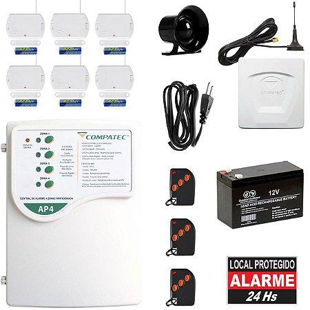 Kit Alarme Com Discadora GSM 6 Sensores 3 Controles Bateria Sirene