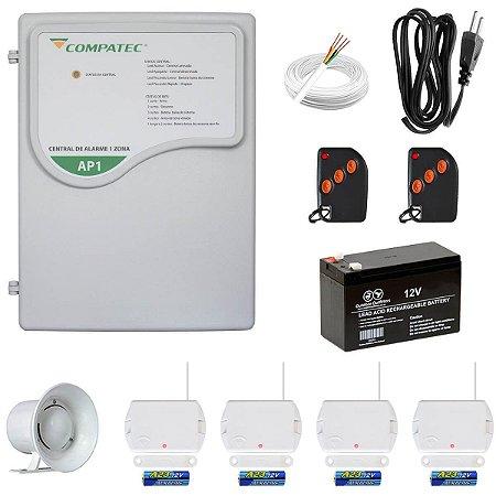 Alarme Residencial Sem Fio Compatec AP1 Com 4 Sensores Abertura