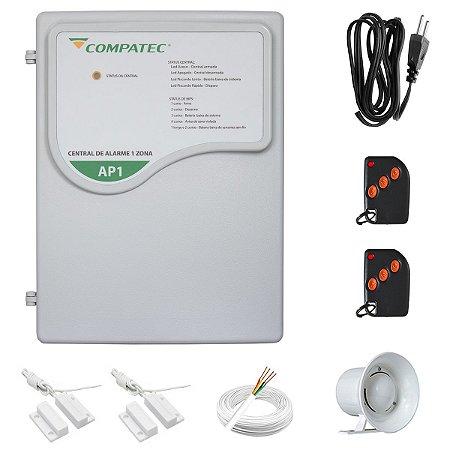 Kit Alarme Residencial Com Fio 2 Sensores Porta Janela Compatec