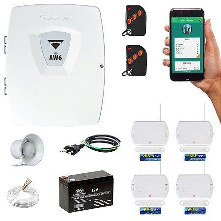 Alarme Wifi Residencial Compatec AW6 Com 4 Sensores Magnéticos