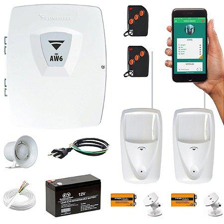 Kit Alarme Wifi Aplicativo Internet 2 Sensores Infra PET Compatec