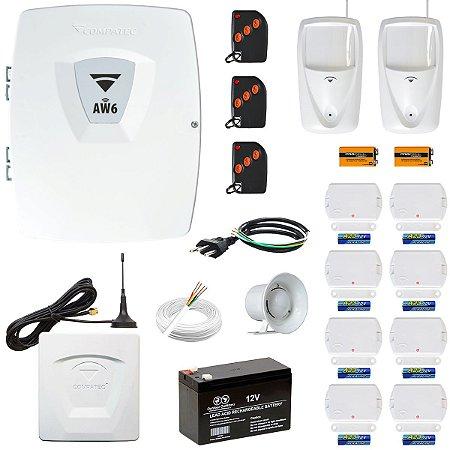 Kit Alarme Wifi + Discadora GSM Com 10 Sensores Sem Fio Compatec