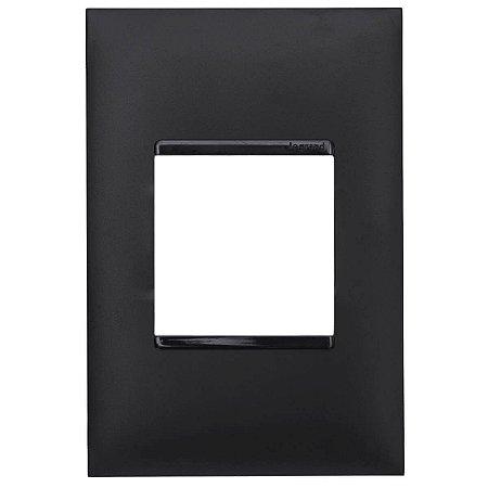 Espelho Pial Plus+ Placa 2 Postos 4x2 Legrand Preto 618502PT