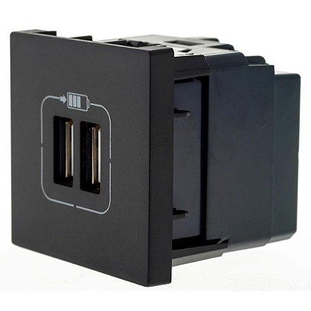 Tomada Dupla Com USB Pial Plus+ Legrand Preta 2400mA 615089PT