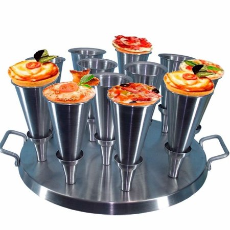 Kit 12 Forma Pizza Cone + Base Para Assar Com Aro Modelador