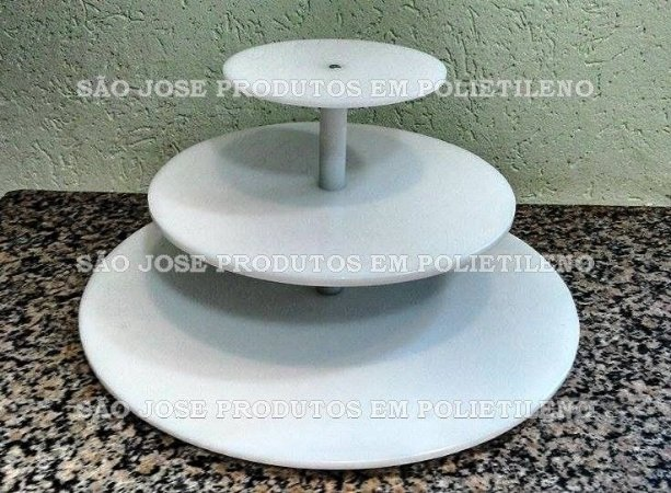 Suporte para Cupcake de 3 andares com base 40cm, e andares 30cm,20cm, com vãos de 15cm