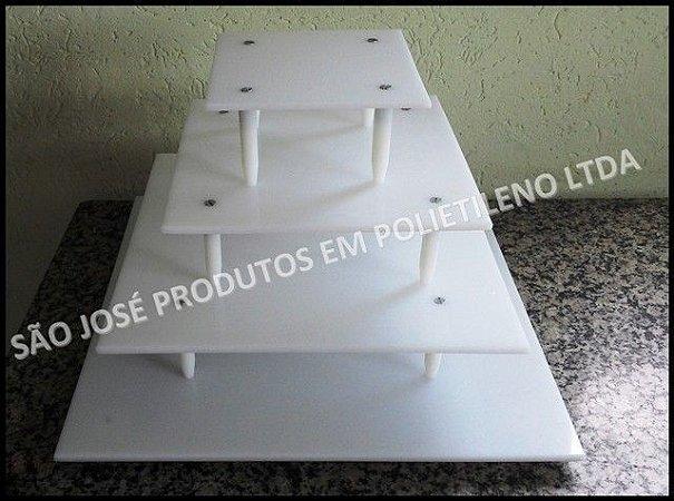 Suporte de 4 andares quadrado com base de 40x40cm + andares de 30x30cm,25x25cm,15x15cm