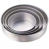 Conjunto Com 4 Formas Redondas  Para Bolo Em Aluminio Altas (10cm altura)