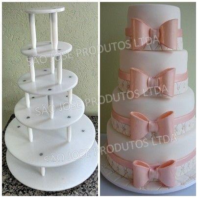 Suporte de 6 andares redondo com base de 40cm + andares de 35cm,30cm,25cm,20cm e 15cm