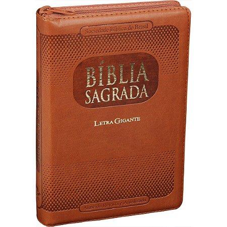 Bíblia Evangélica Masculina Índice Zíper Letra Grande Marrom