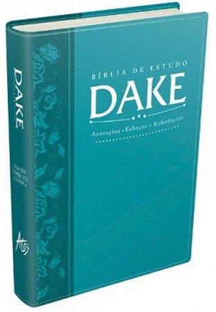 Bíblia Sagrada De Estudo Dake Dicionário Capa Lançamento Azul Turquesa