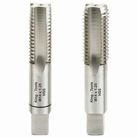 Jogo de Macho M 14 X 1,25 Manual Aço Rápido (HSS) - King Tools