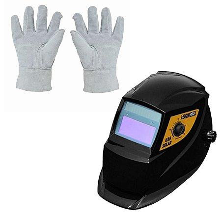 Máscara com escurecimento automático e Luva de raspa