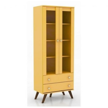 Estante Cristaleira 70 Amarelo - Móvel Bento