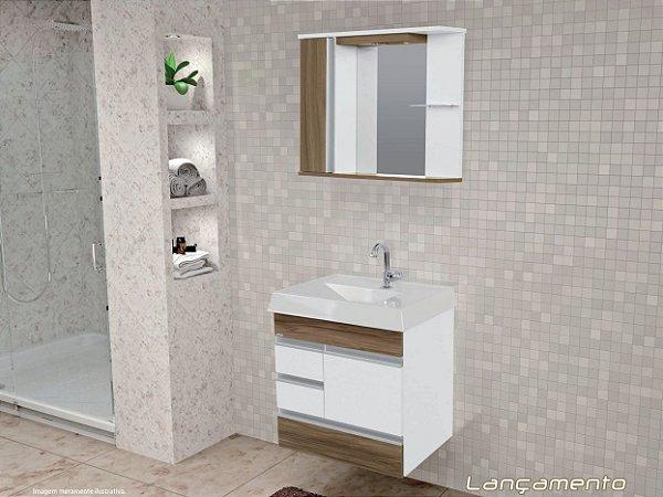 Kit Banheiro com armário, cuba e espelheira suspenso 80cm  Nápole