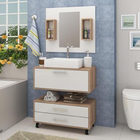 Armário de Banheiro Completo com Cuba e Espelho - Carvalho/Branco - Fellicci