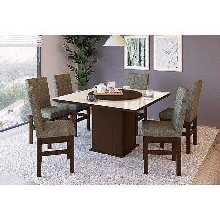 Conjunto Mesa de Vidro com 8 cadeiras em madeira maciça - Zamarchi
