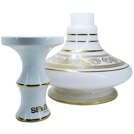 KIT Rosh Seven Hookah + Vaso Aladin Shisha Glass - BRANCO