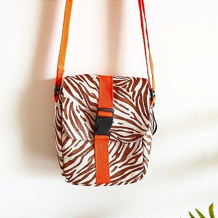 Bolsa Bangu Zebra Marrom Pelo com Laranja