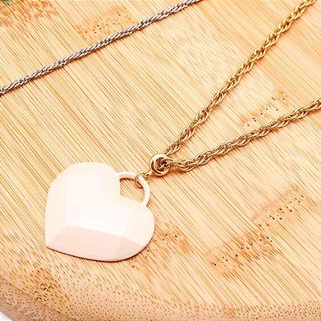 Cordão Coração Perolado Dourado