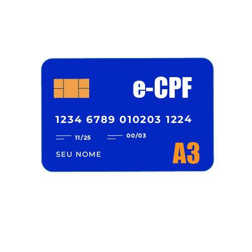 Certificado Digital A3 e-CPF CARTÃO