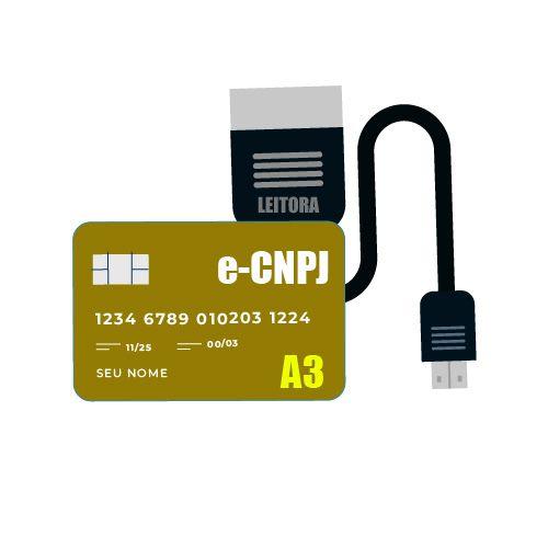 Certificado Digital e-CNPJ A3 - CARTÃO + LEITORA