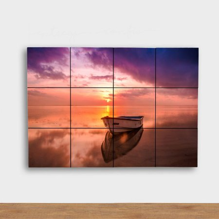 Painel Decorativo Barco Pôr do Sol Lilás