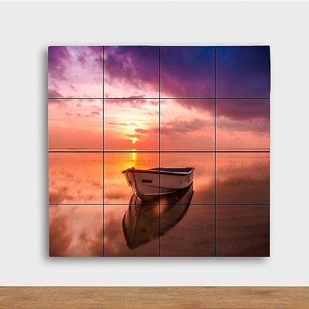 Painel Decorativo Barco Pôr do Sol Lilás - Quadrado