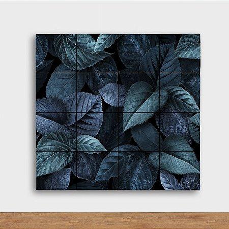 Painel Decorativo Folhagem Azulada - Quadrado
