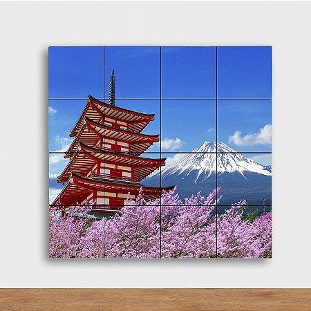 Painel Decorativo Fuji com Sakuras - Quadrado