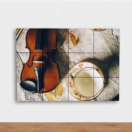 Painel Decorativo Violino e Chá