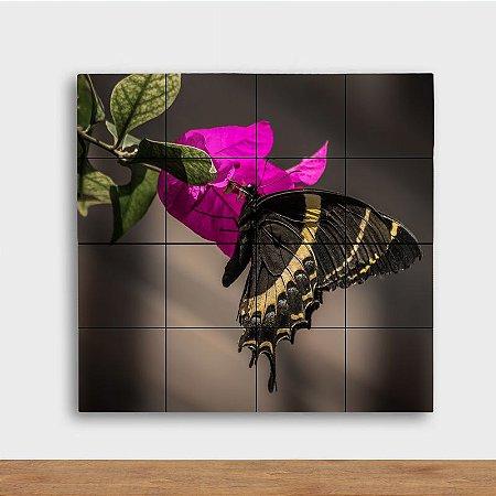Painel Decorativo Flor Pink e Borboleta - Quadrado