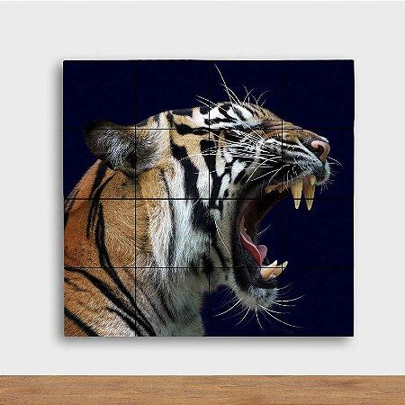 Painel Decorativo Tigre Rugindo - Quadrado