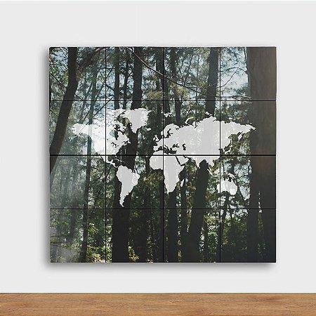 Painel Decorativo Mapa Floresta - Quadrado