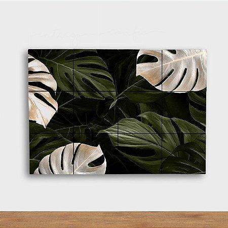 Painel Decorativo Costela Adão Verde e Branco