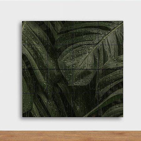 Painel Decorativo Folhagem na Chuva - Quadrado