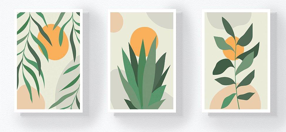 Trio Retangular Azulejos - Plantas Verde e Amarelo