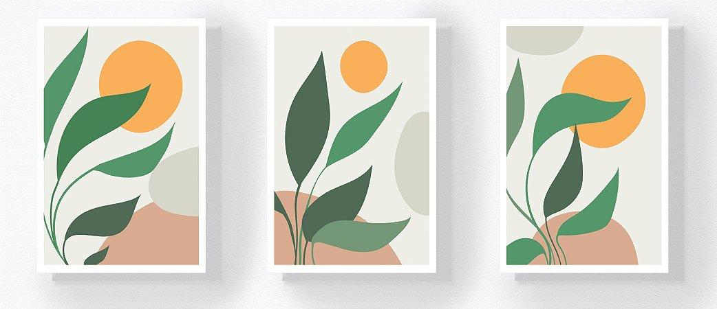 Trio Retangular Azulejos - Folhas Verde e Amarelo
