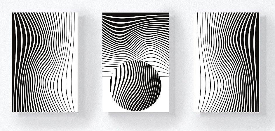Trio Retangular Azulejos - Formas e Linhas P&B