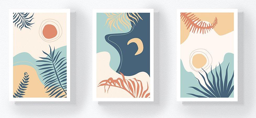 Trio Retangular Azulejos - Folhas, Sol e Lua