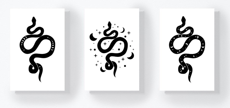 Trio Retangular Azulejos - Cobras P&B