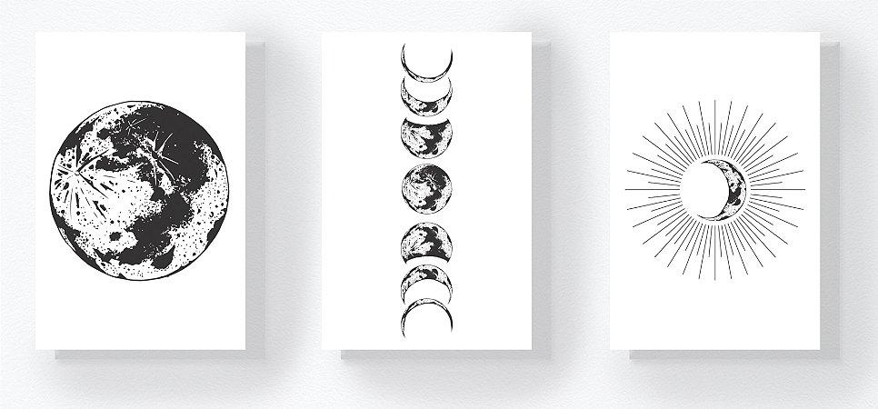 Trio Retangular Azulejos - Fases da Lua Branco