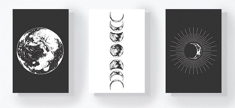 Trio Retangular Azulejos - Fases da Lua P&B