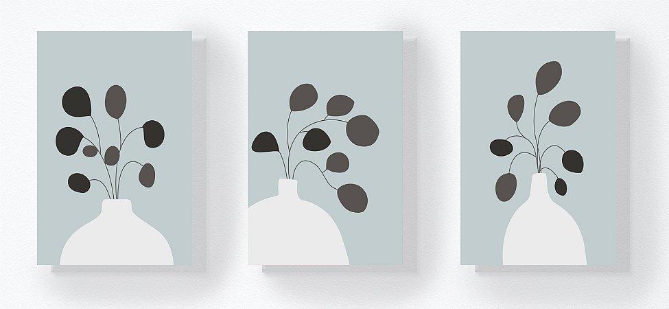 Trio Retangular Azulejos - Planta Vaso Azul Claro
