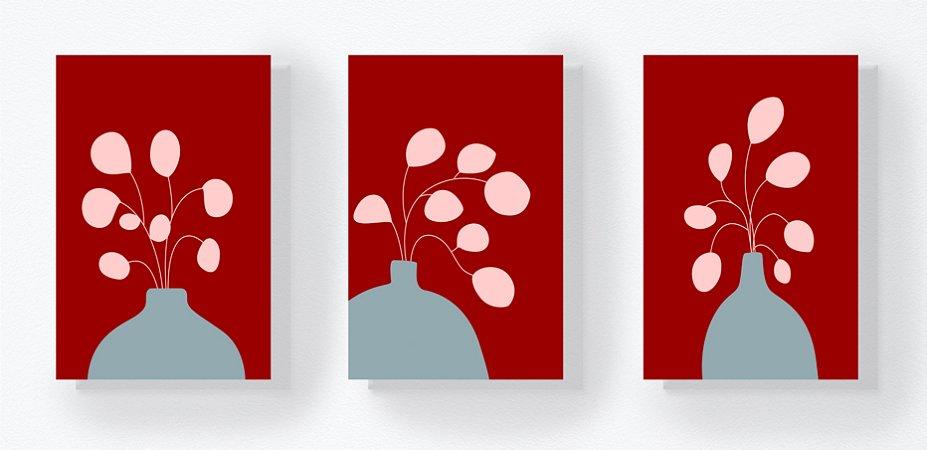 DUPLICADO - Trio Retangular Azulejos - Planta Vaso Vinho