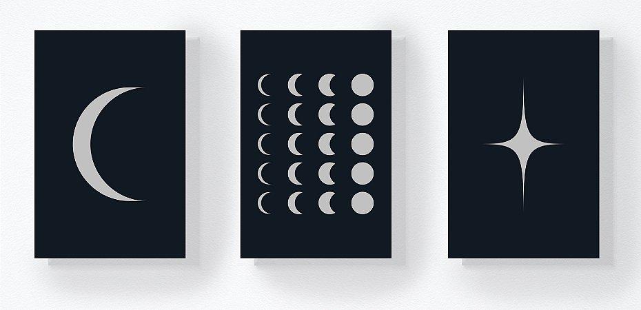 Trio Retangular Azulejos - Luas e Estrela Escuro